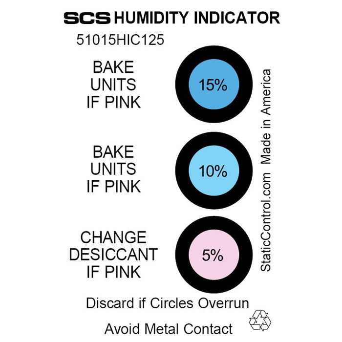 SCS 51015HIC125 3-Spot Humidity Cards, 125/can