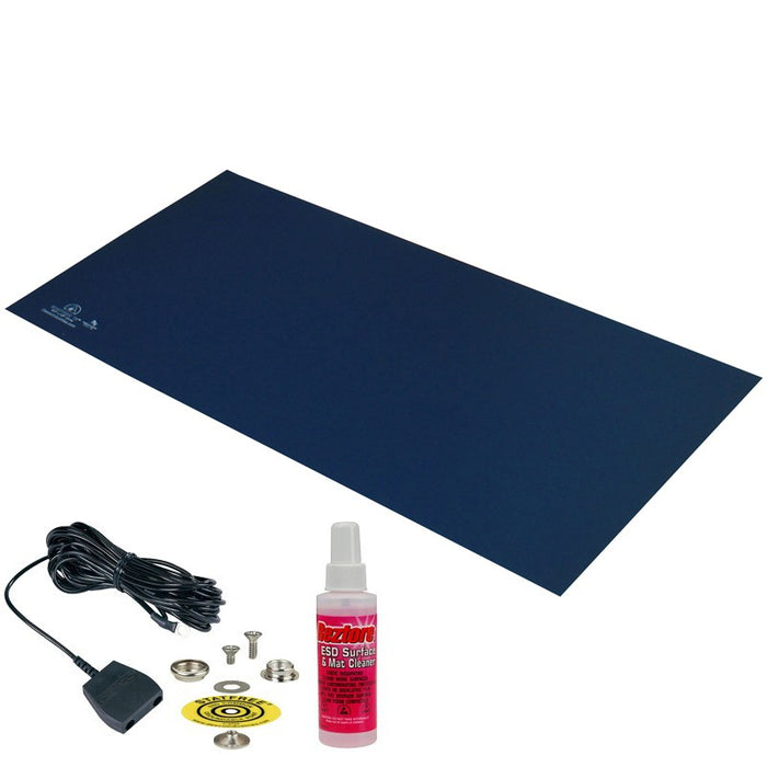 "Desco 66429 Mat Kit, Statfree T2 Plus Rubber, Dissipative, Dark Blue, 24""x48""x.060"""