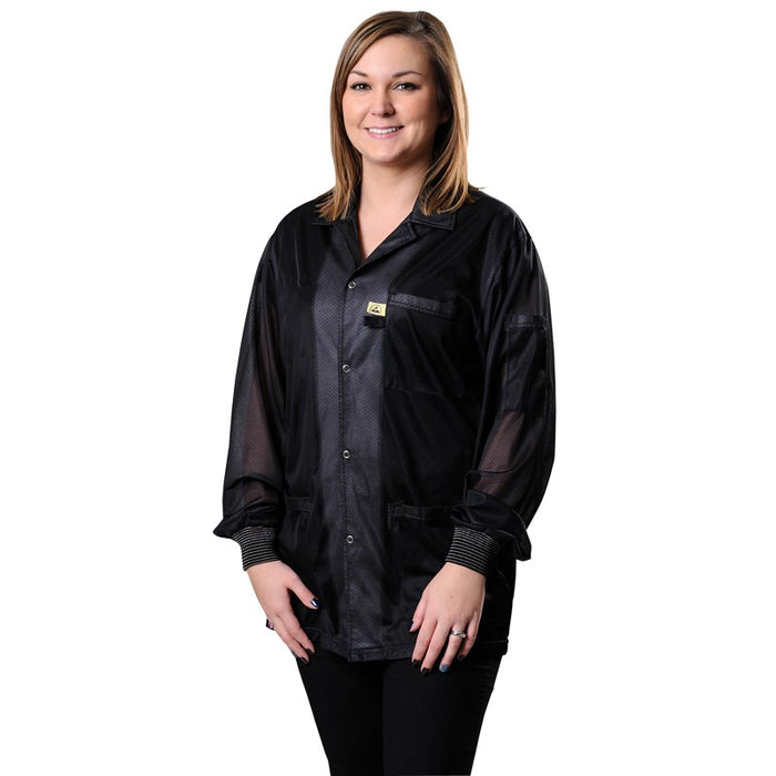 Desco 73865 Statshield ESD-Safe Black Jacket w/cuffs, 2X-Large