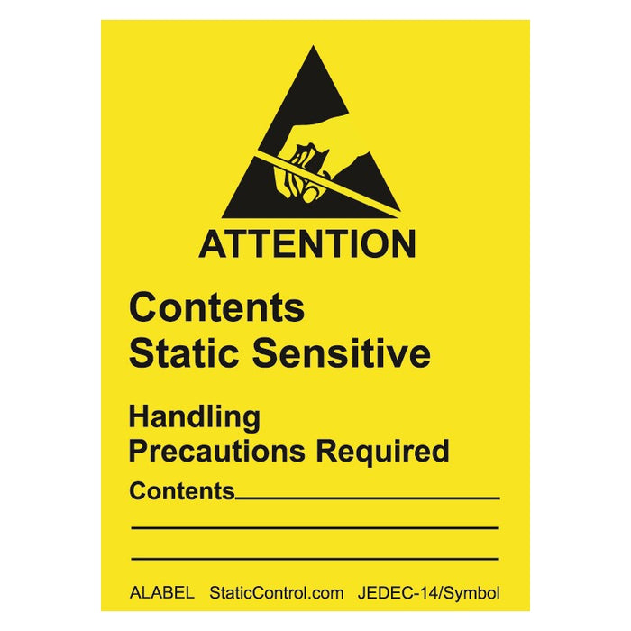 "SCS ALABEL ESD Caution Label, 1-7/8"" x 2-1/2"" 500/roll"
