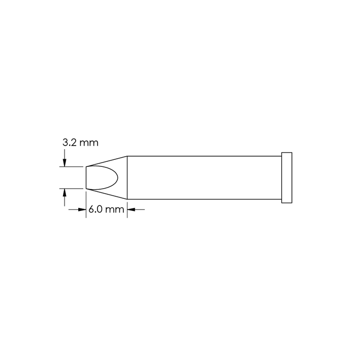 Metcal GT6-CH0032P Chisel Power Tip 3.2mm x 6mm, 60-degree