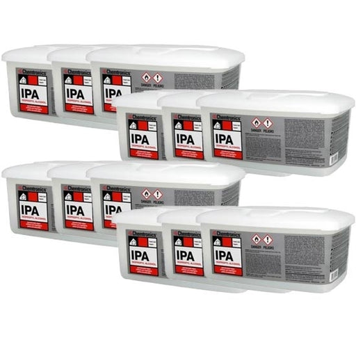 Chemtronics IPA100B | Pre-Saturated w/ 70% IPA and 30% Deionized Water | 100/ct Box Dispenser | Case of 12 boxes