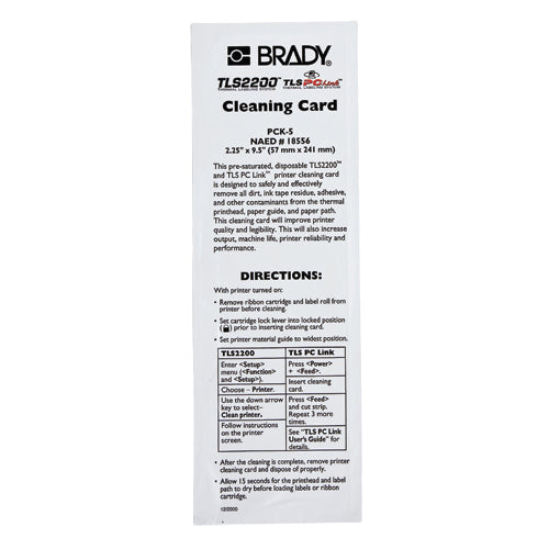 Brady PCK-5 TLS2200 Cleaning Kit,  5 Cleaning Cards