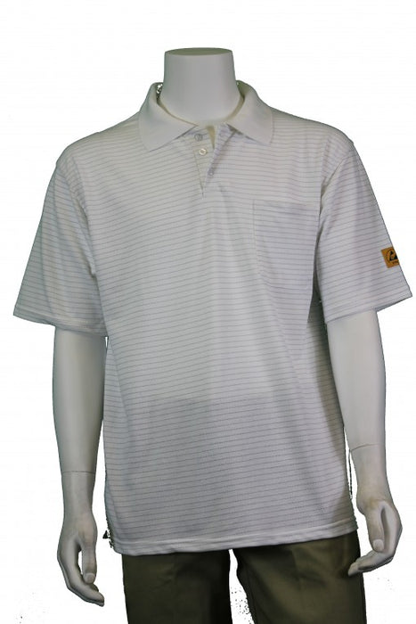 Tech Wear PKS-11-L ESD-Safe Short Sleeve White Polo Shirt, Large