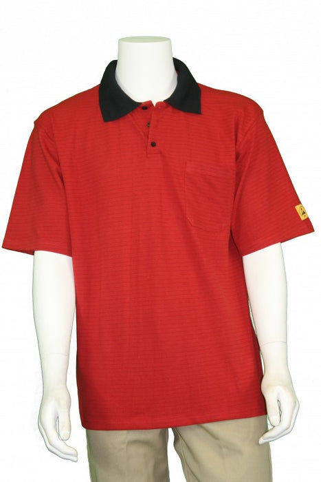 Tech Wear PKS-31-L ESD-Safe Short Sleeve Red Polo Shirt, Large