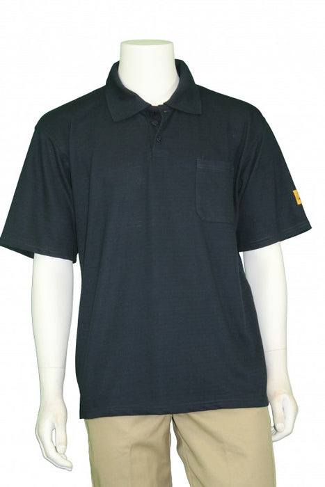 Tech Wear PKS-61-S ESD-Safe Short Sleeve Navy Blue Polo Shirt, Small