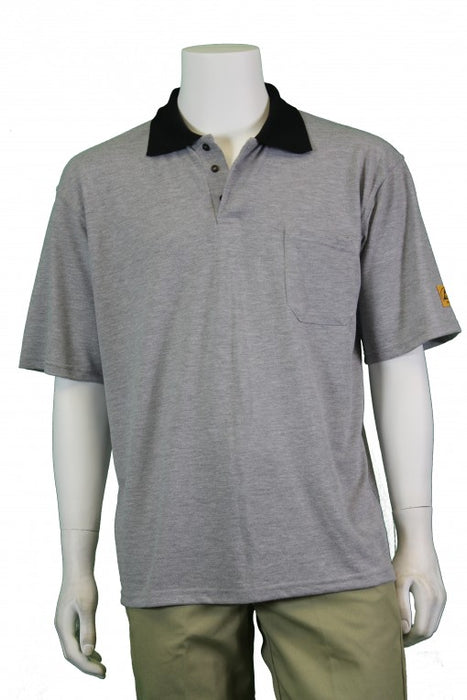 Tech Wear PKS-81-L ESD-Safe Short Sleeve Grey Polo Shirt, Large