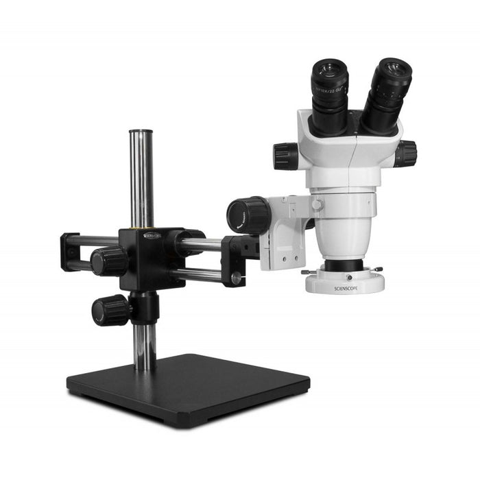 Scienscope SZ-PK5D-E1 Stereo Zoom Binocular Microscope with Compact LED Ring Light & Dual Arm Stand