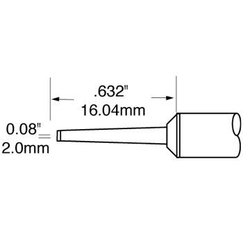 "Metcal SFP-CHL20 Chisel Long Reach Cartridge 2.0mm (.08"") for MFR Systems"