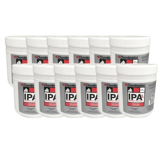 Chemtronics SIP125P Isopropyl Stencil Wipes | Pre-saturated with 70% IPA and 30% deionized water, 125 per tub | Case of 12 tubs