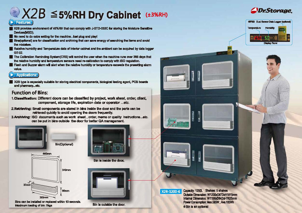 Dr. Storage X2B-400 Ultra Low Humidity Dry Cabinet, 411L Capacity