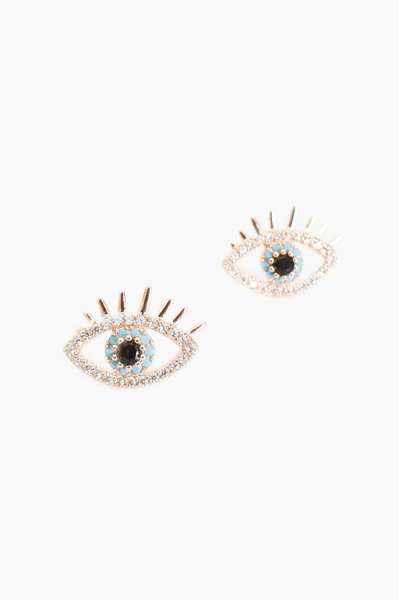 Evil Eye Stud Earrings (Crystal/Gold) CZ