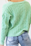 Addison Cable Knit Cardigan - Green