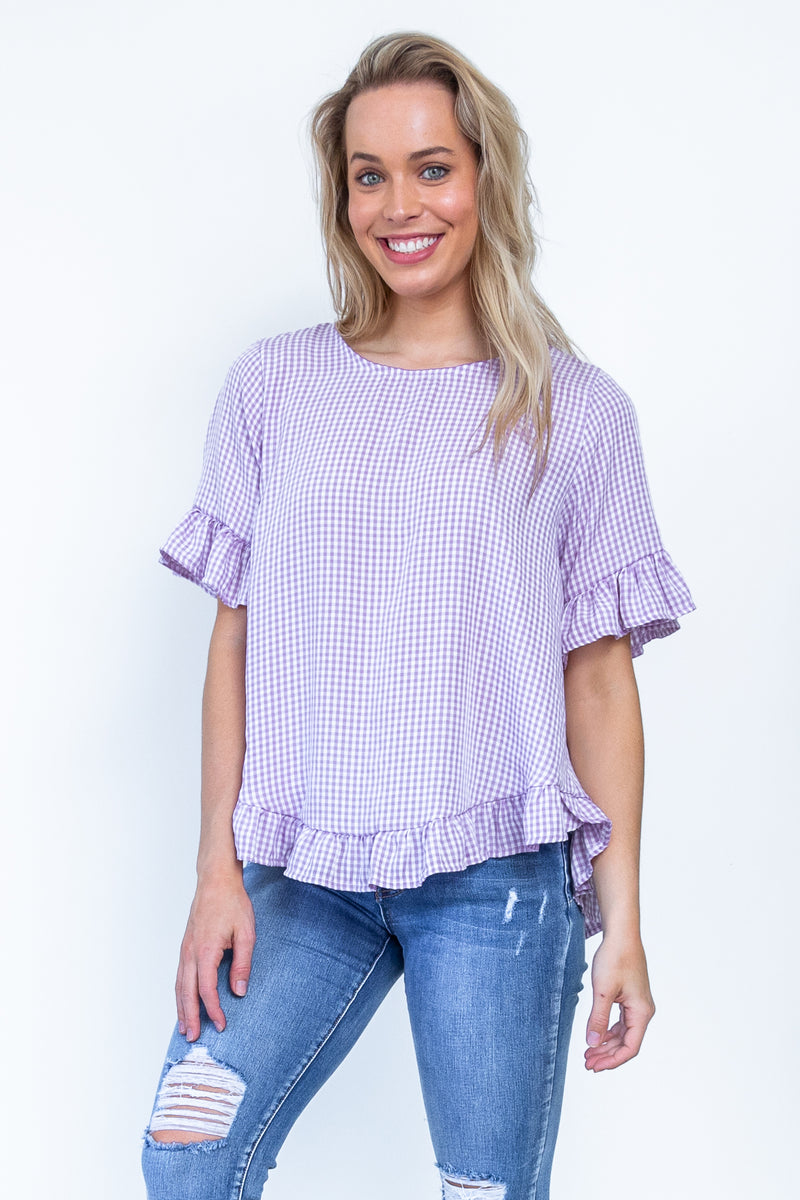 Andrea Top - Lilac Gingham