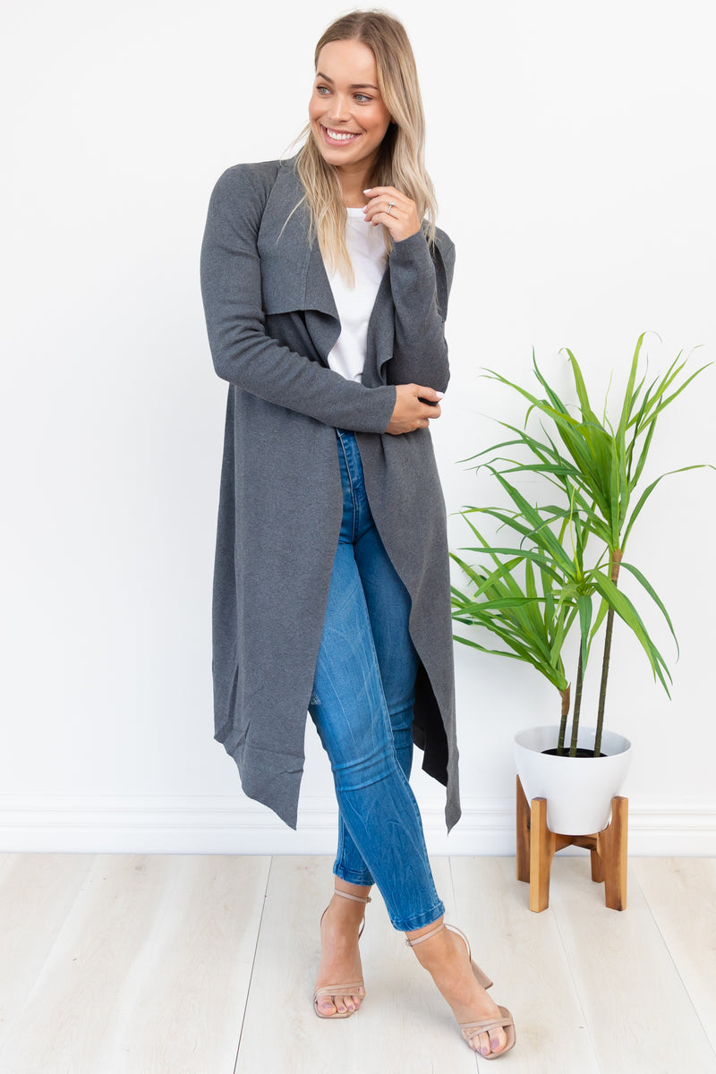 Bella Cardigan - Charcoal