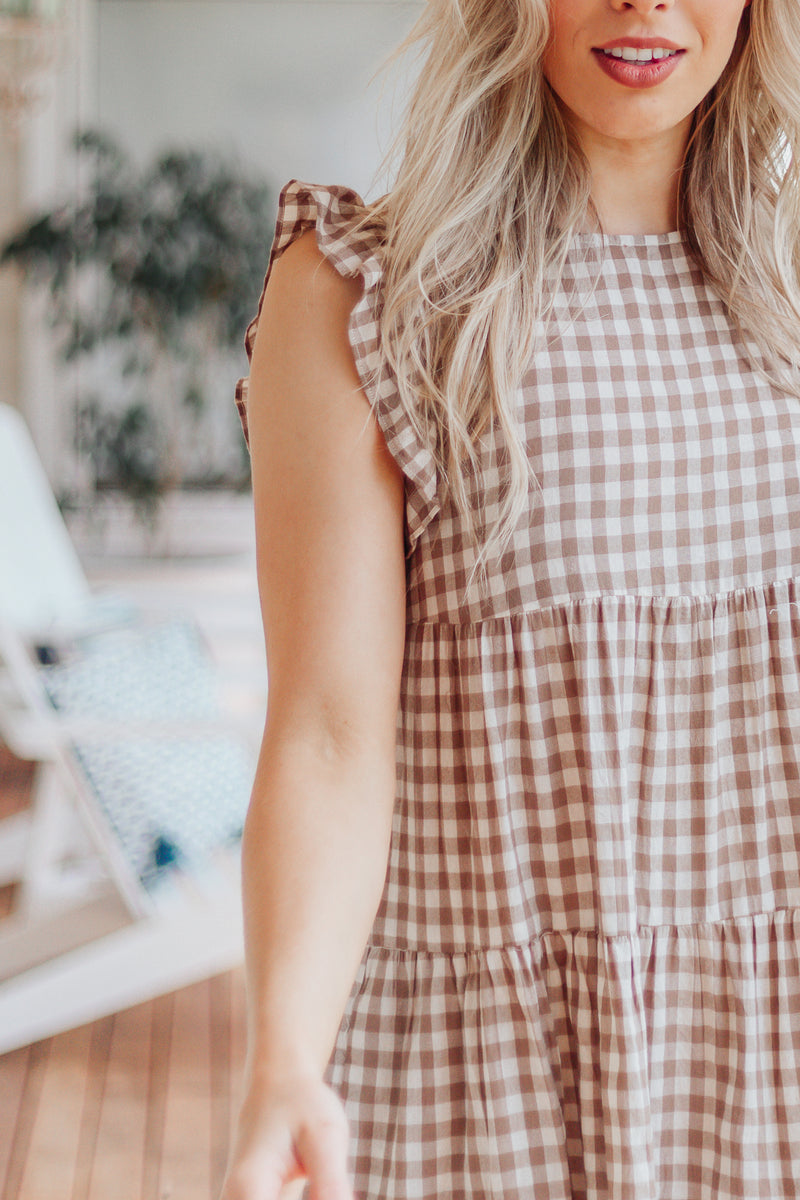 Sadie Gingham Dress - Natural
