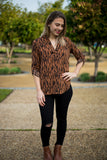 Bre Top - Mustard Animal Print