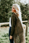 C A T  S A N Z in the Hazel Crochet Cardigan - Khaki
