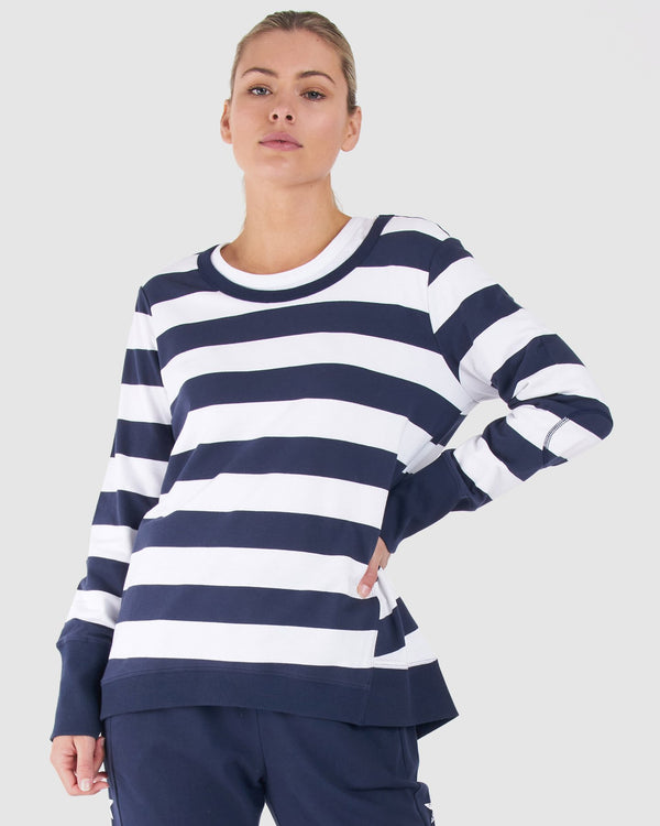 Dolly Sweat - NAVY/WHITE STRIPE || By Betty Basics