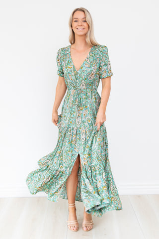 Green Paisley Maxi Dress