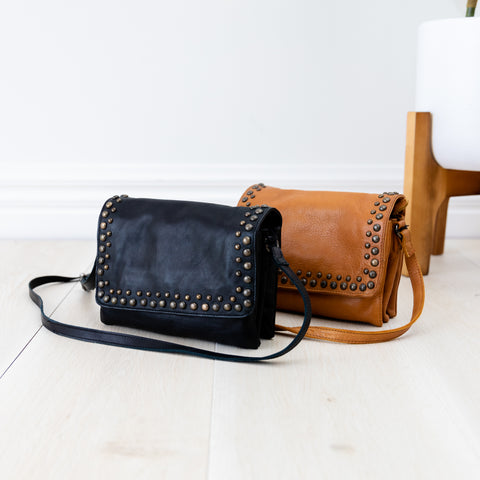Gloria Cross Body Leather Bag- Black