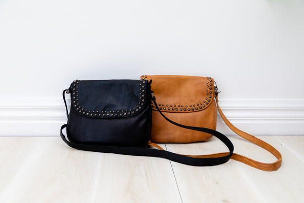 Miranda Cross Body Bag - Tan || Rugged Hide