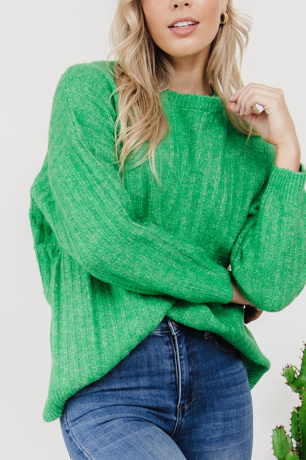 Kayla Knit Jumper - Apple Green  || By BettyBasics {Online Exclusive}