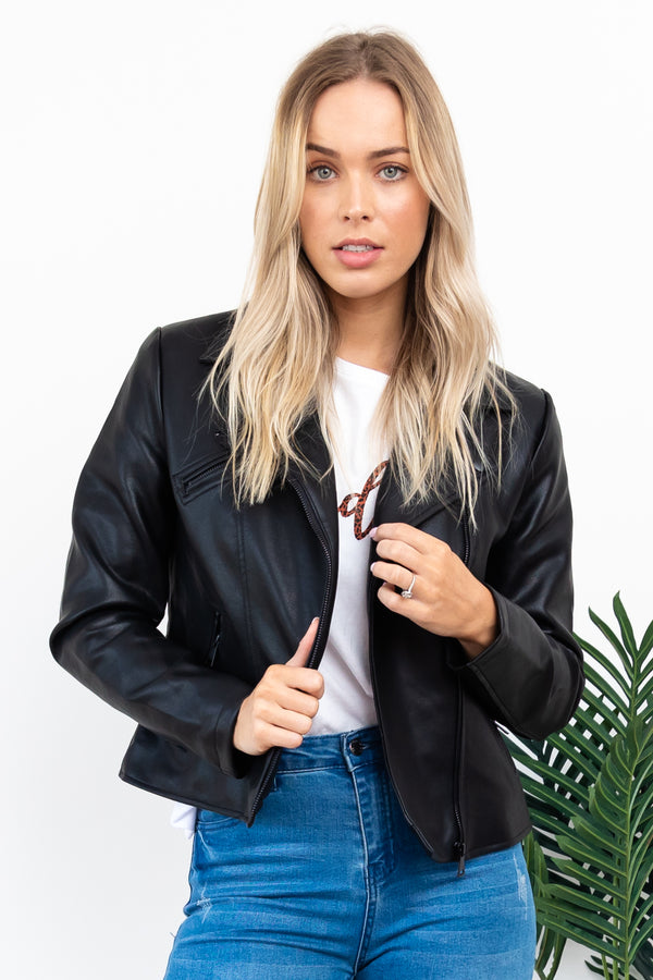 Mabel PU Jacket || By Sass || - Black