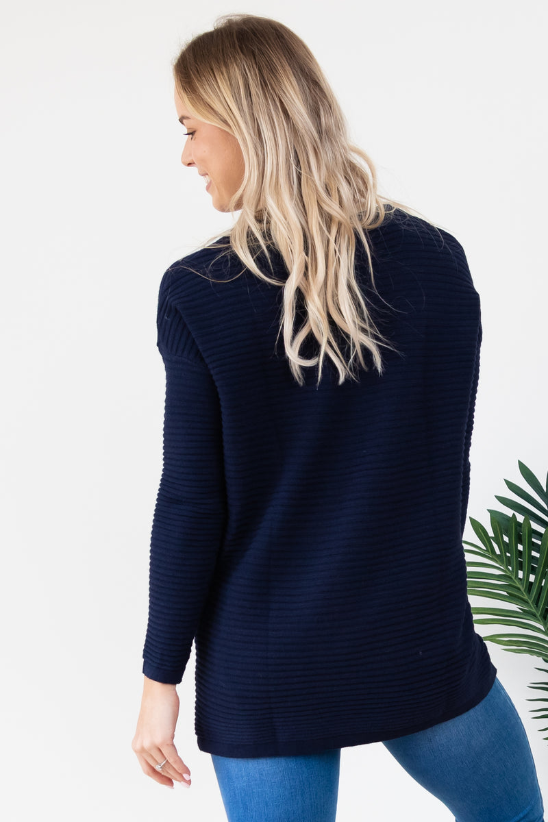 Button Knit - Navy