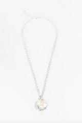 Pearl Cluster Ancient Coin Necklace (Silver/Cream)