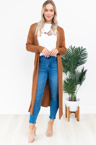 Selby Rib Cardi || By Sass || -  Rust