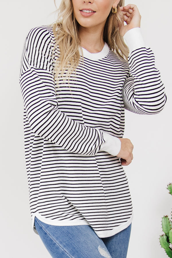 Sophie Knit Jumper -  White/Black Stripe || By Betty Basics {Online Exclusive}