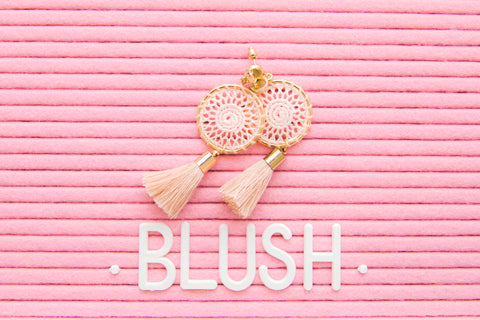 Blush Boho Tassel Earrings - Blush Pink