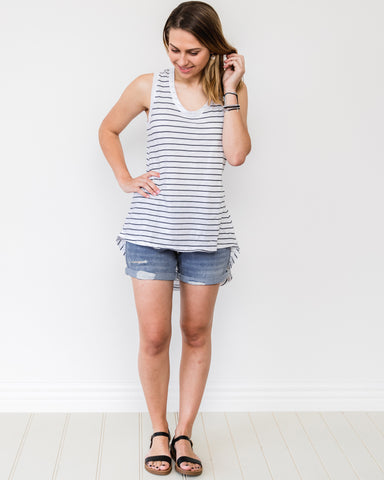 Madison Tank by 3rd Story - White/Navy Stripes