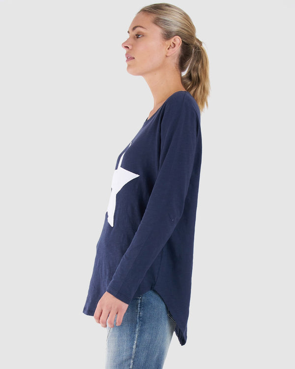 Megan Long Sleeve Top - Navy STAR