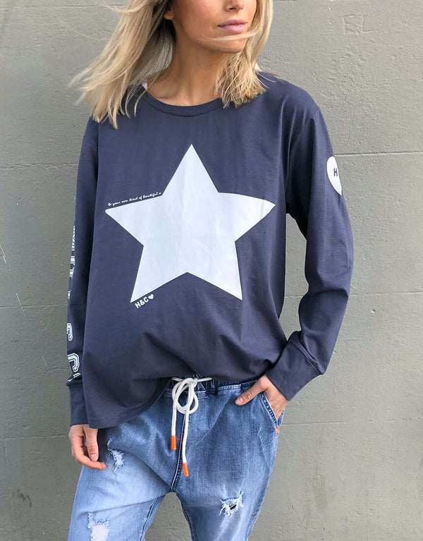 Star Long Sleeve Tee - Navy/White Star By Hammill + Co