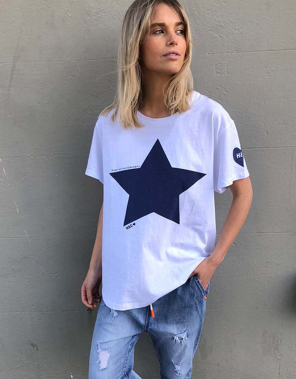 Star Tee - White/Navy  By Hammill + Co