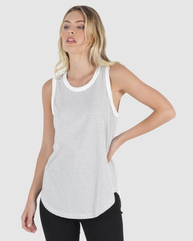 Keira Tank - White/Black Stripe