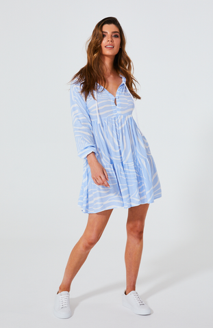 CALI ROPE MINI DRESS - BLUE ZEBRA