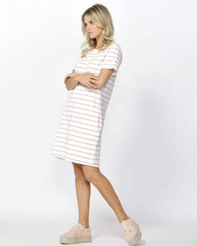 Gwen Tee Dress - Rose Stripe