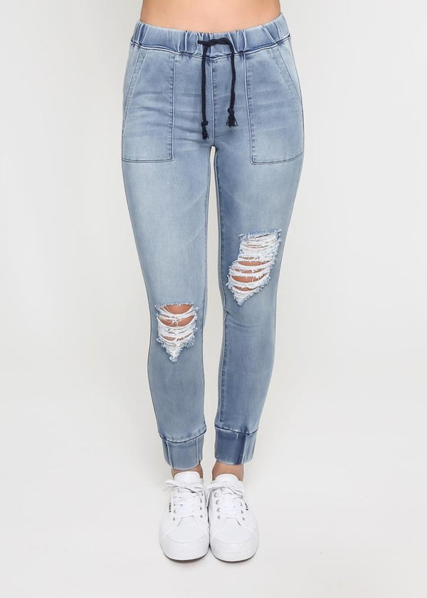 ARIANA DENIM JOGGER - BLUE WASH