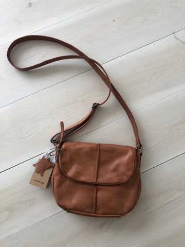 Rugged hide Leather bag - Miranda - Tan