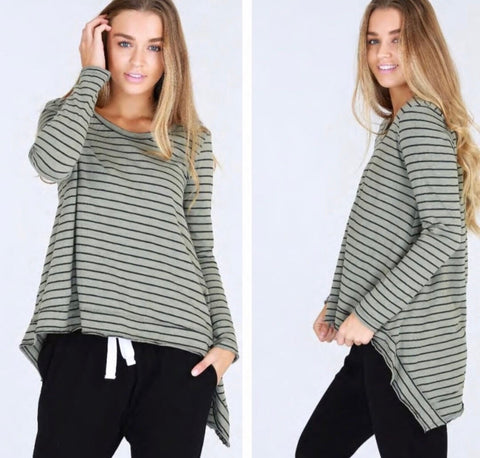 Willow Top - Green Stripe || 3rdStory