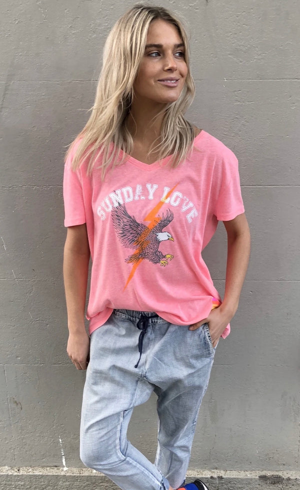 PINK V NECK EAGLE TEE - Hammill + Co