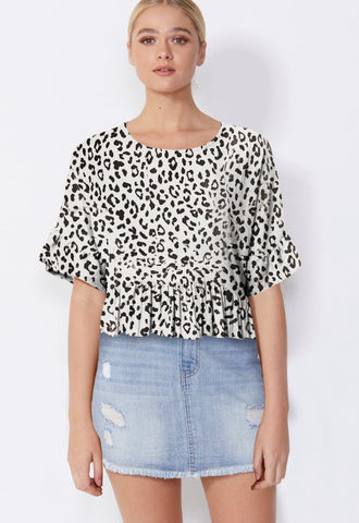 Reni Top - Black Animal Print
