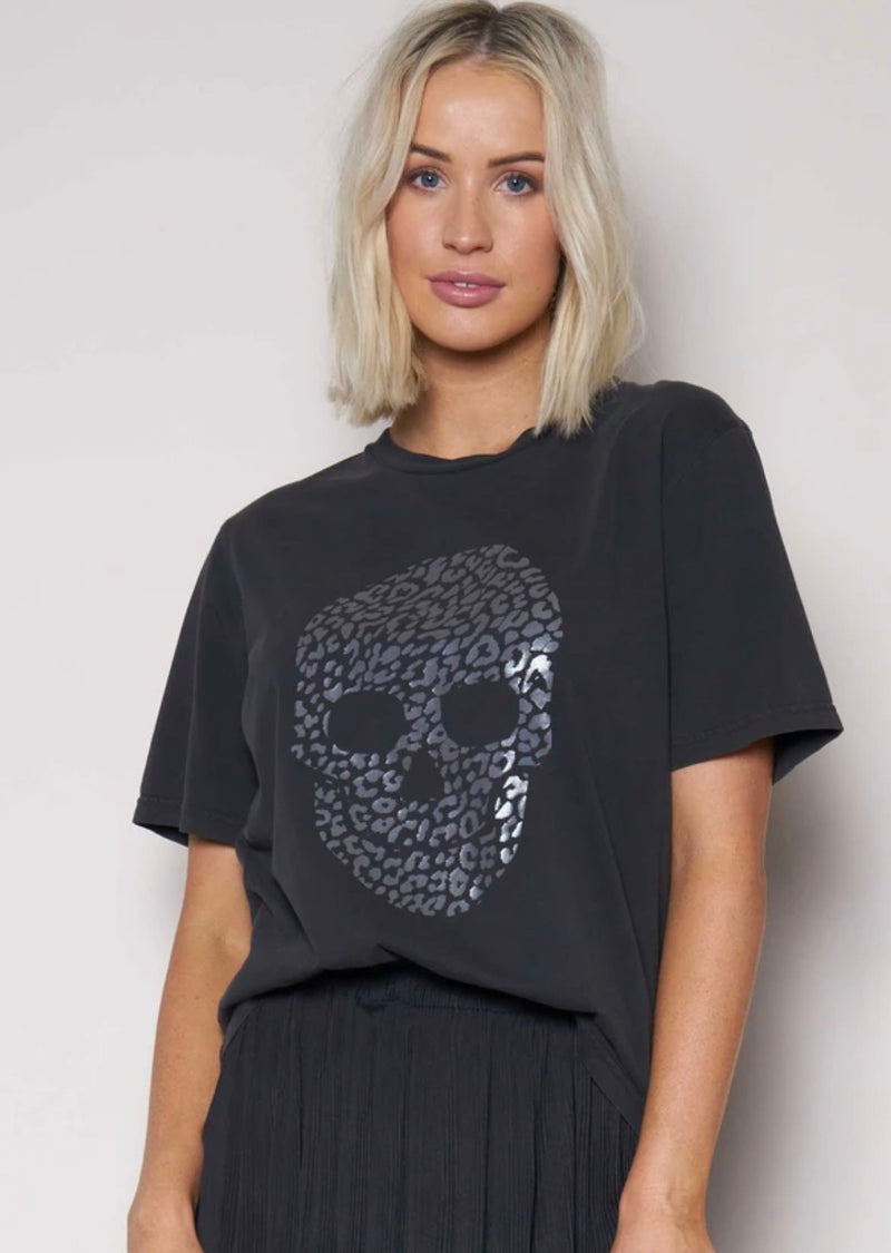 Relaxed Tee Vintage With Silver Skull - Black