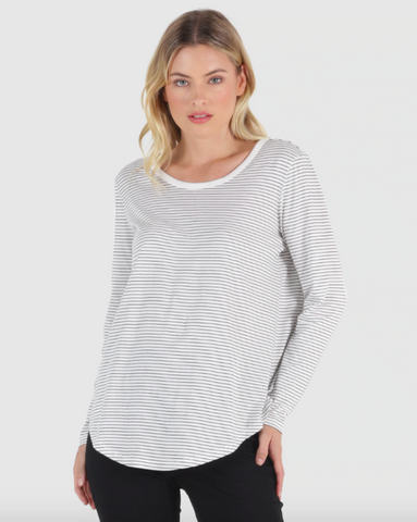 Megan L/S Top - W/B Stripe