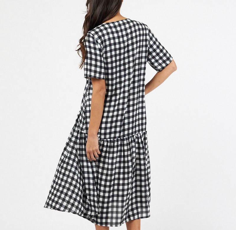 Gingham Dress- Black