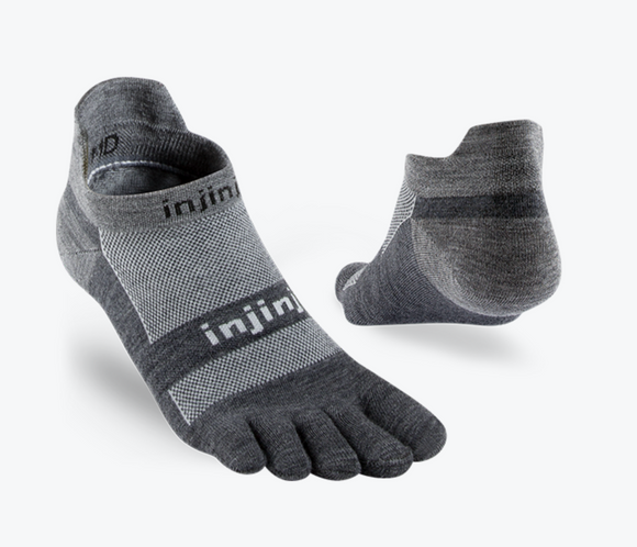Injinji Run Lightweight No Show - NuWool. Unisex (charcoal)
