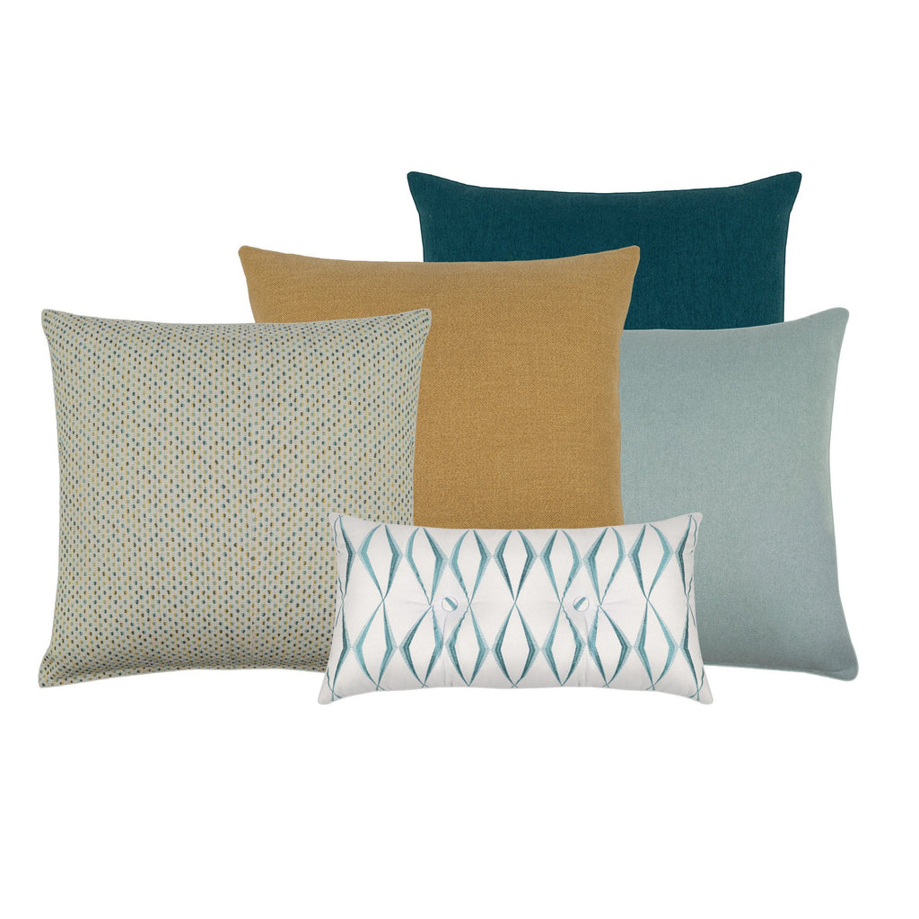 Minetta Teal & Yellow Decorative Throw Pillow